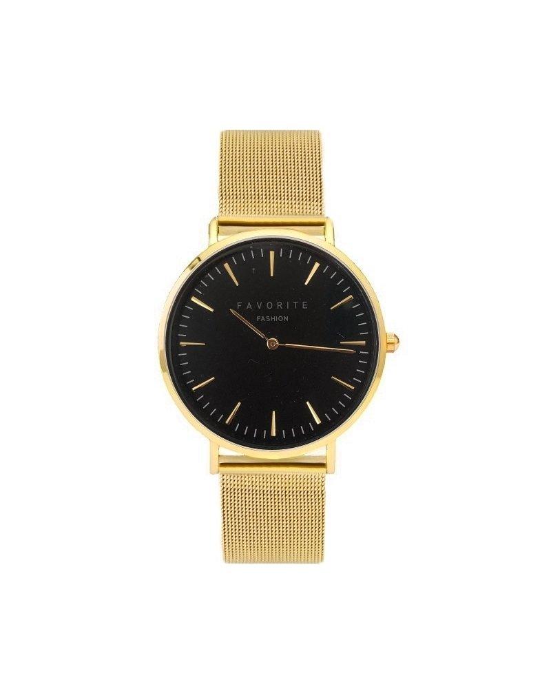 Favorite Fashion Navarra Black / Gold Mesh 2.0 Horloge | Zwart & Goudkleurig | Mesh band | Luxe Giftset/Cadeauset