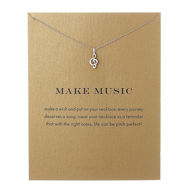 Muziek Noot / Make Music Ketting | Zilverkleurig | 45 + 5 cm
