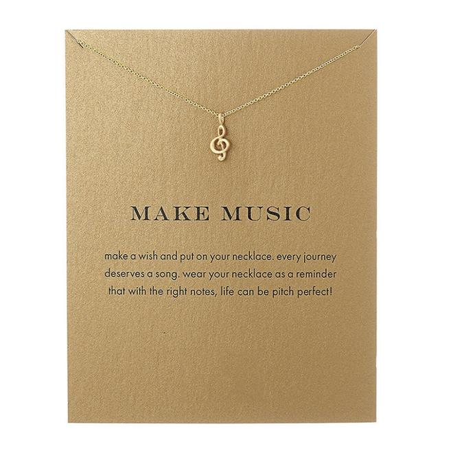 Muziek Noot / Make Music Ketting   Goudkleurig   45 + 5 cm