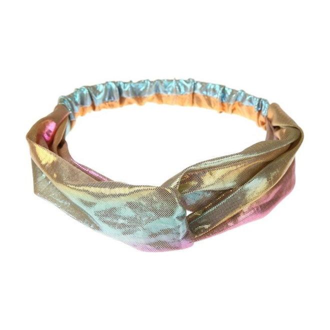 Metallic Cross Haarband / Hoofdband | Polyester | Regenboog / Rainbow