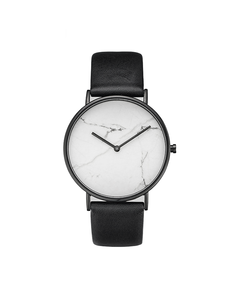 Fashion Favorite Zamora Marble White Horloge | Wit Marmer | PU Lederen band