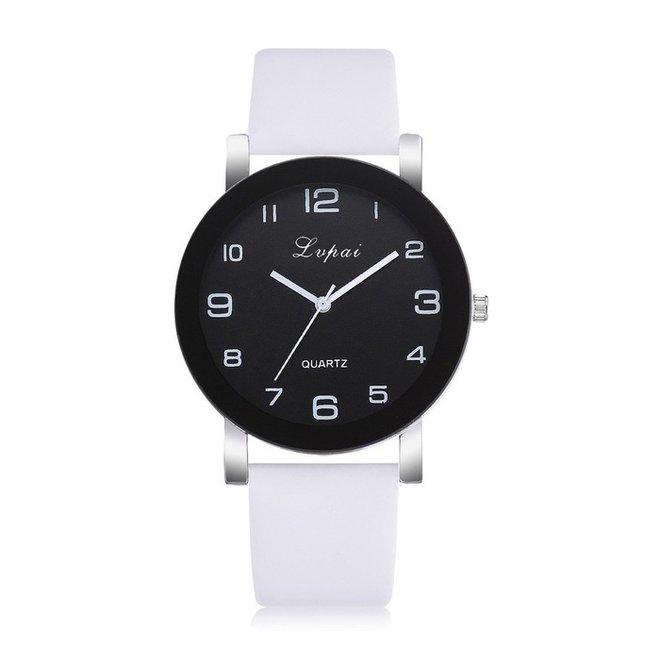 LVPAI Quartz Horloge   Wit & Zwart   PU Lederen Band