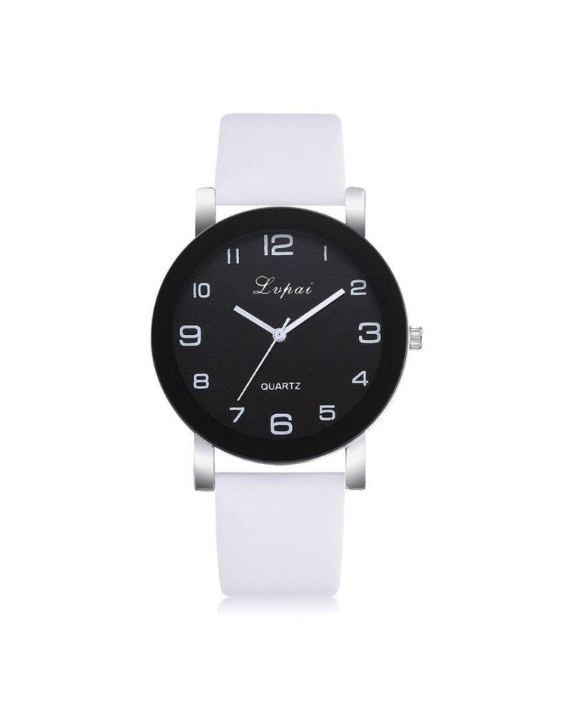 Fashion Favorite LVPAI Quartz Horloge   Wit & Zwart   PU Lederen Band