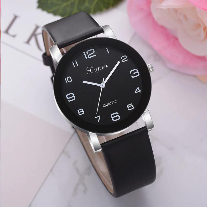 LVPAI Quartz Horloge | Zwart & Zwart | PU Lederen Band
