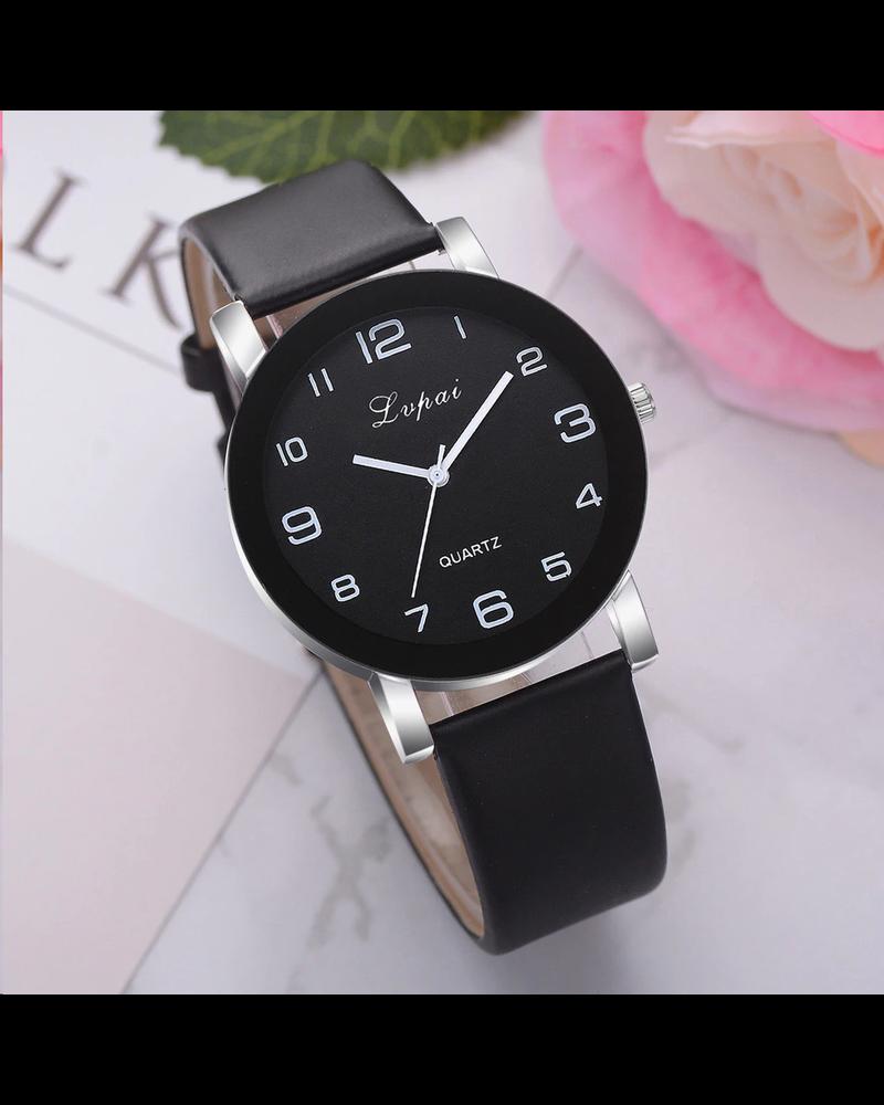 Fashion Favorite LVPAI Quartz Horloge   Zwart & Zwart   PU Lederen Band