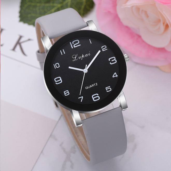 LVPAI Quartz Horloge | Grijs & Zwart | PU Lederen Band