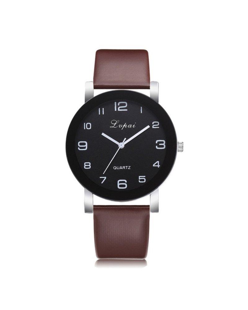 Fashion Favorite LVPAI Quartz Horloge | Bruin & Zwart | PU Lederen Band