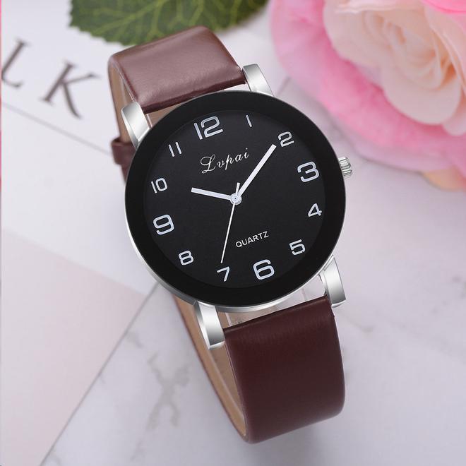 LVPAI Quartz Horloge   Bruin & Zwart   PU Lederen Band