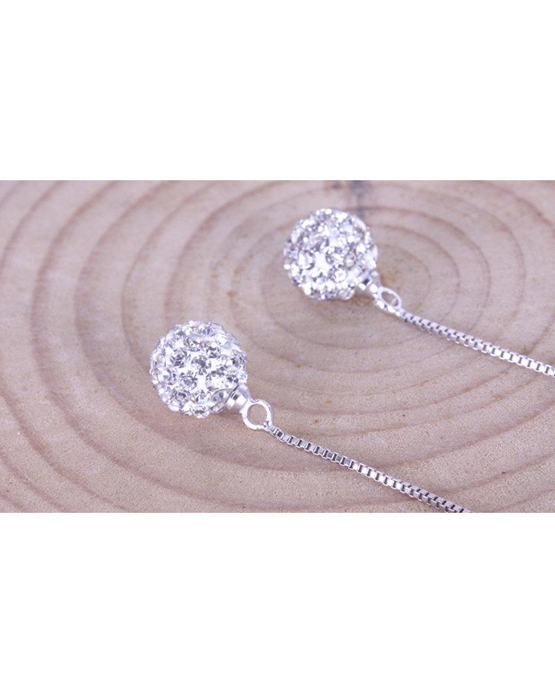 Fashion Favorite Long Shamballa Oorbellen - 925 zilverkleurig - Kristal Bol -