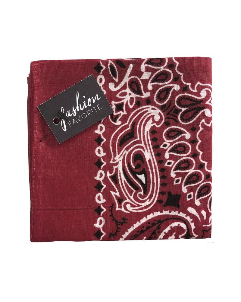 Fashion Favorite Vintage Bandana / Zakdoek Wijnrood | Katoen | 55 x 55 cm