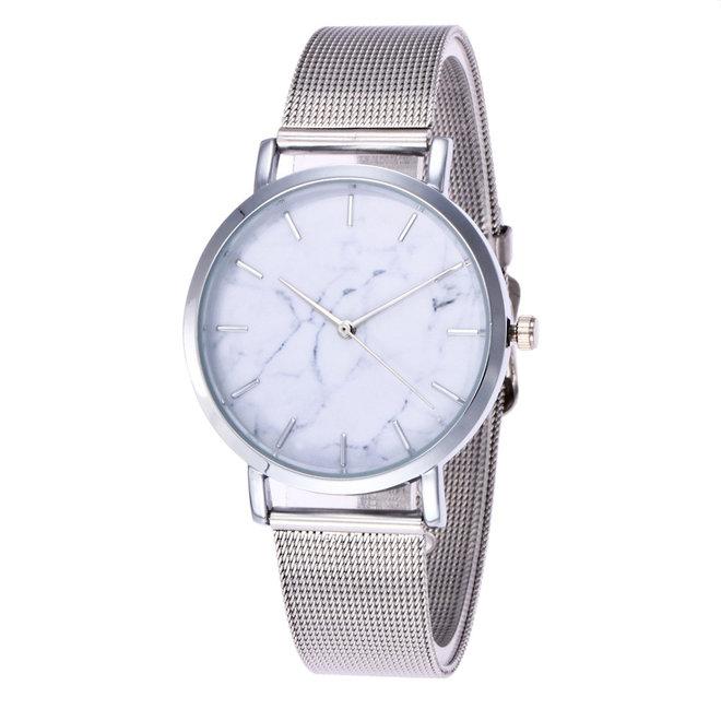 Marble Mesh Horloge - Staal - Zilver
