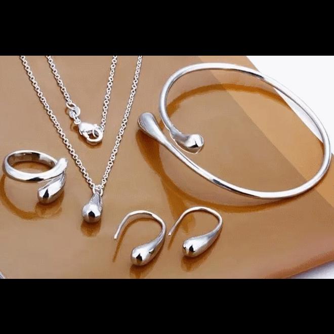 Jewelry Silver Waterdrop/Druppel Set 4-delig | 925 Zilver |