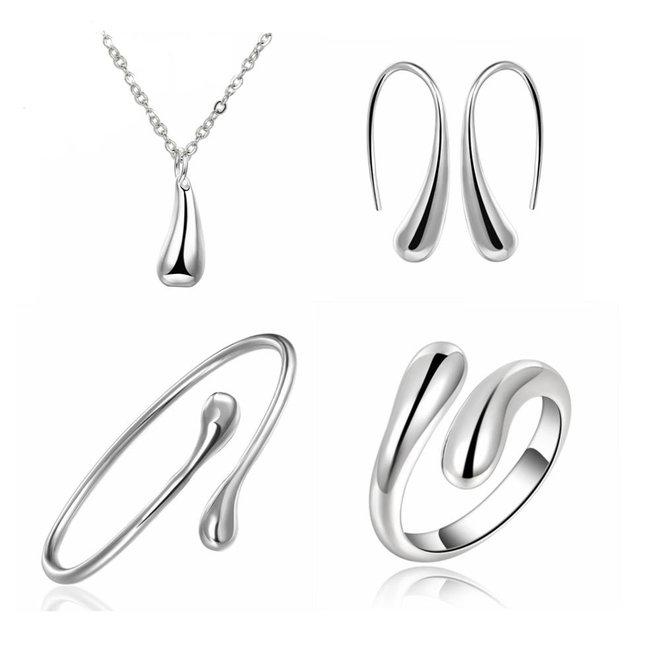 Jewelry Silver Waterdrop/Druppel Set 4-delig