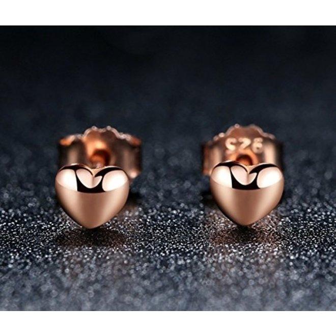 Hartje Stud Oorknopjes/Oorbellen | Rosekleurig Zilver PVD | 4 x 0,8 mm