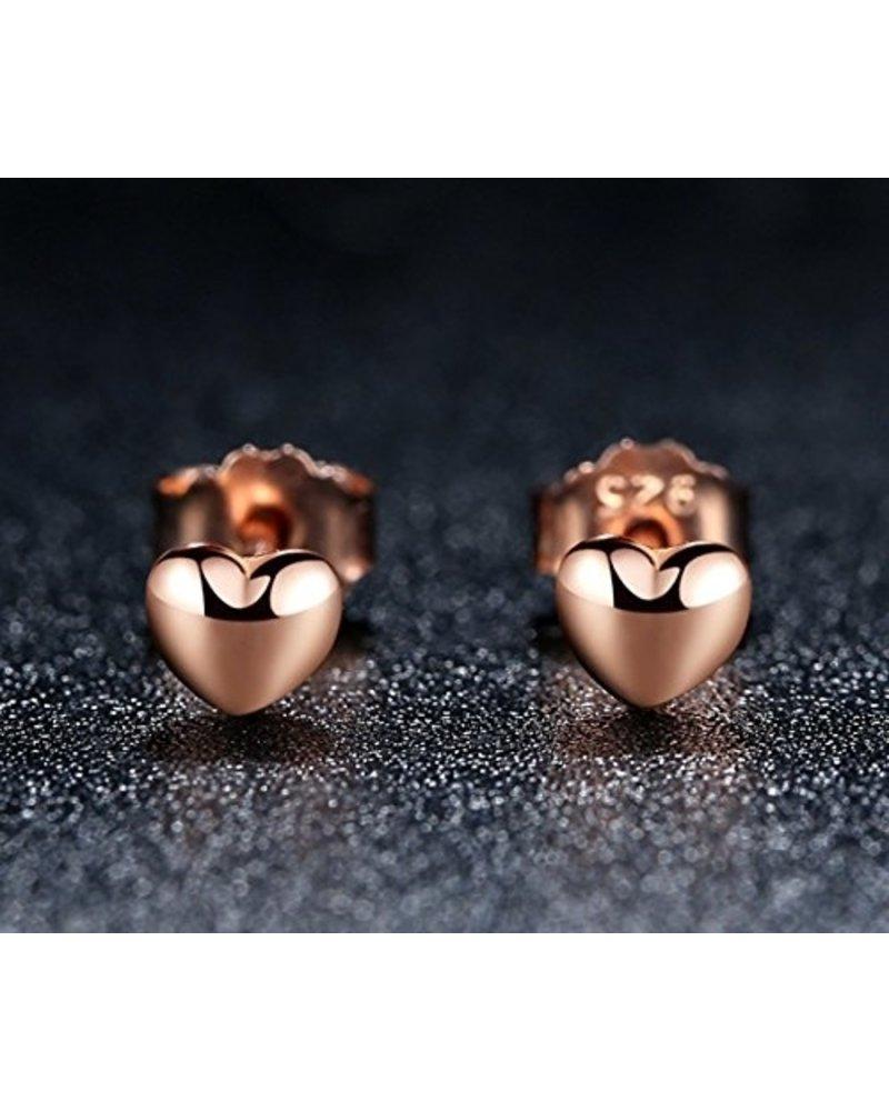 Fashion Favorite Hartje Stud Oorknopjes/Oorbellen | Rosekleurig Zilver PVD | 4 x 0,8 mm