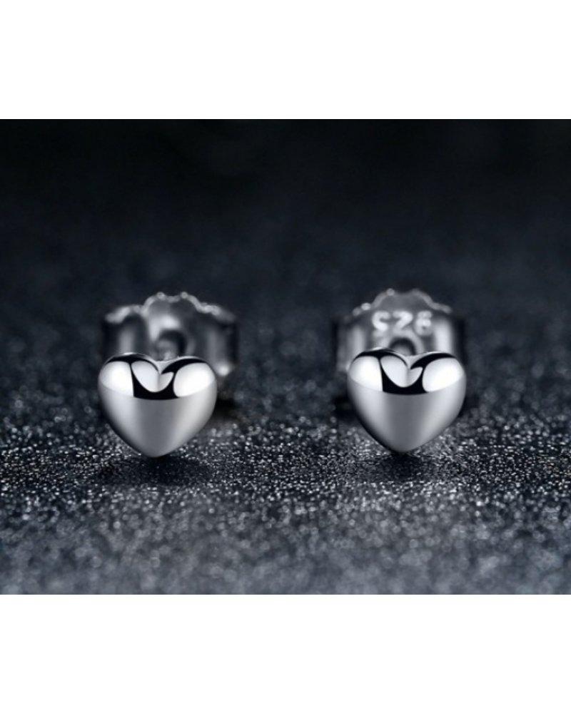 Fashion Favorite Hartje Stud Oorknopjes/Oorbellen   925 Zilver   4 x 0,8 mm
