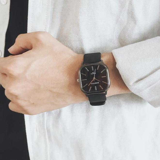 Harley Rosivga Square Horloge | Zwart - Zwart | Vierkant | Kunstleer | Ø 35 mm
