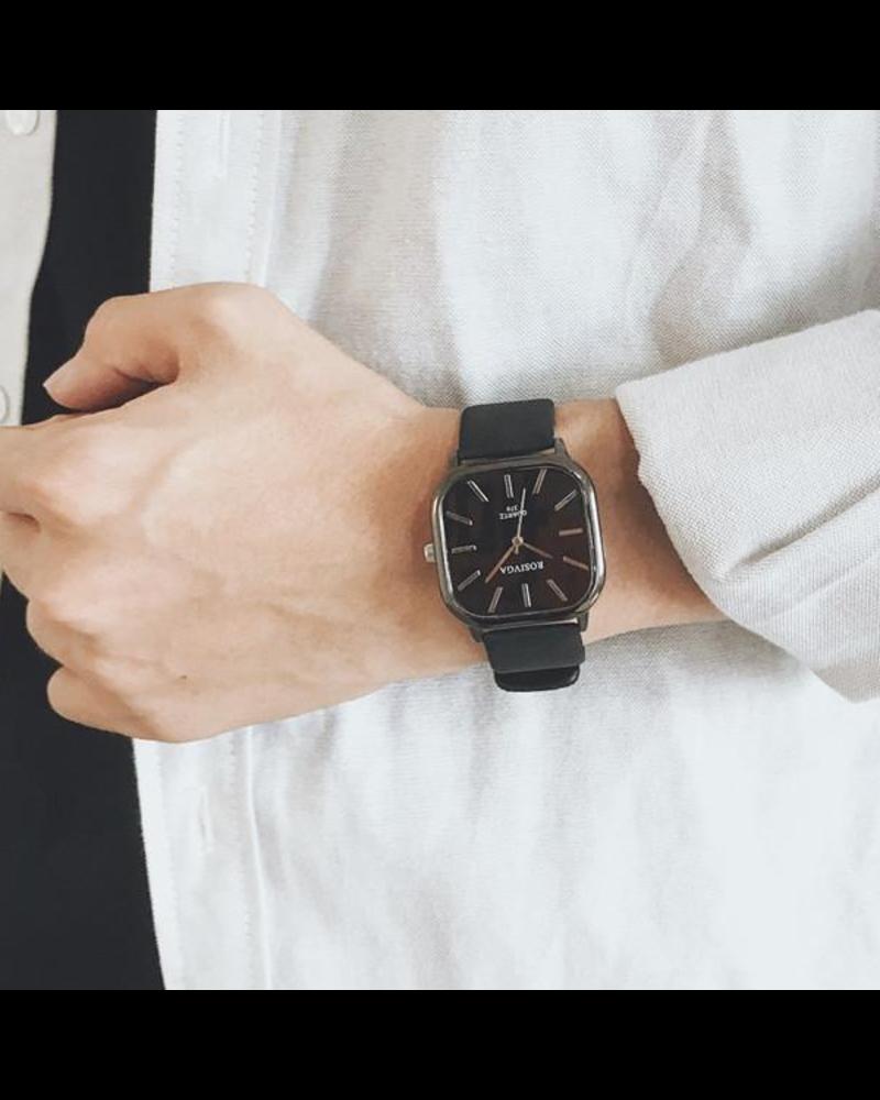 Fashion Favorite Harley Rosivga Square Horloge | Zwart - Zwart | Vierkant | Kunstleer | Ø 35 mm