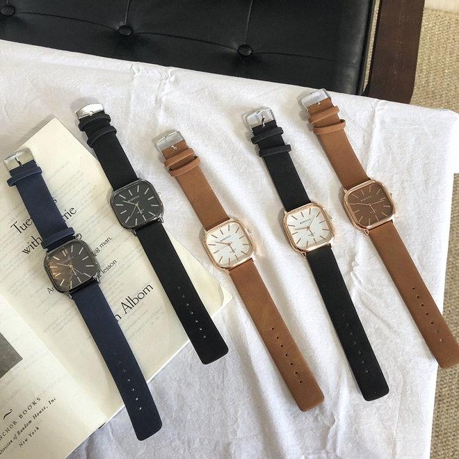 Harley Rosivga Square Horloge   Zwart - Wit   Vierkant   Kunstleer   Ø 35 mm