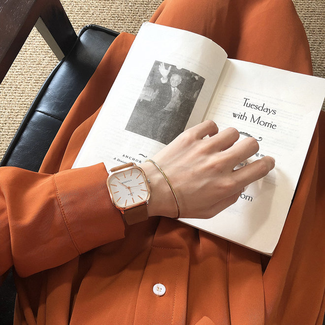Harley Rosivga Square Horloge | Bruin - Wit | Vierkant | Kunstleer | Ø 35 mm