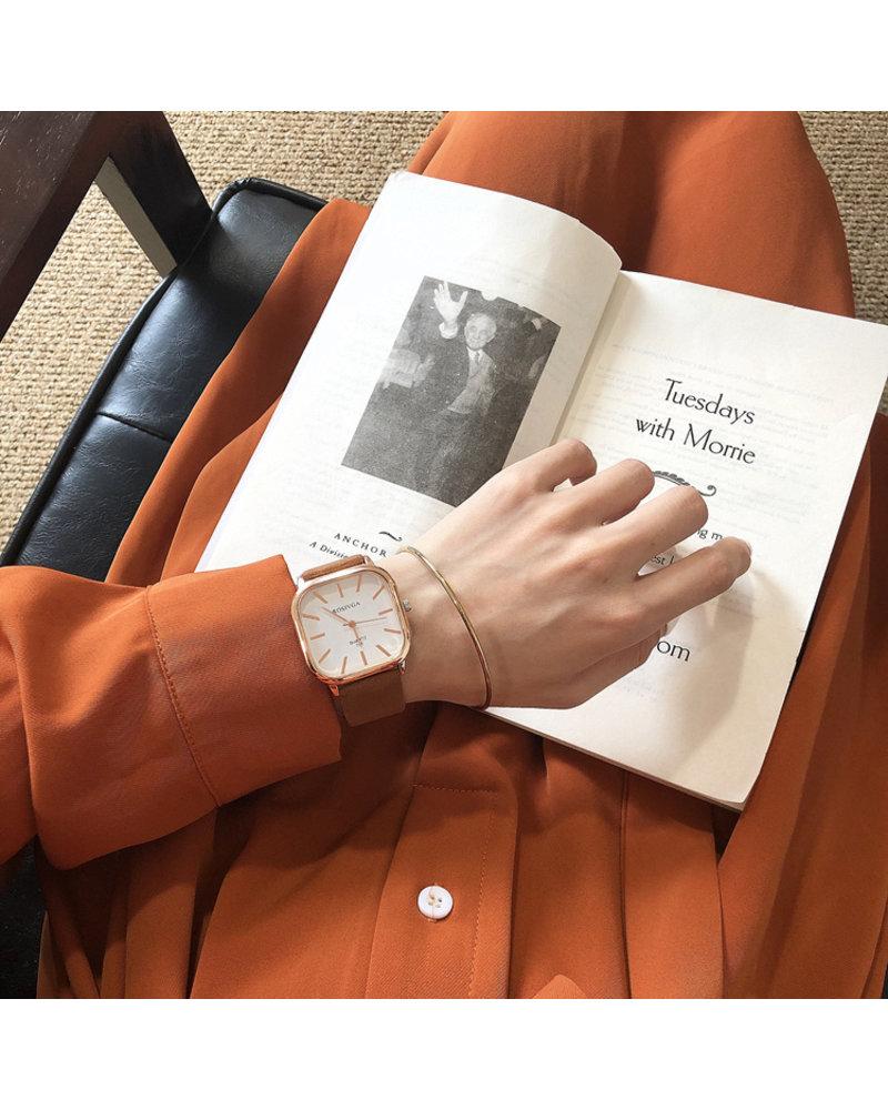 Fashion Favorite Harley Rosivga Square Horloge | Bruin - Wit | Vierkant | Kunstleer | Ø 35 mm
