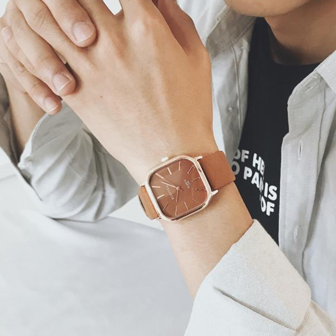 Harley Rosivga Square Horloge | Bruin - Bruin | Vierkant | Kunstleer | Ø 35 mm