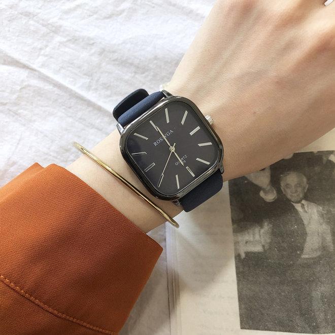 Harley Rosivga Square Horloge   Blauw - Blauw   Vierkant   Kunstleer   Ø 35 mm