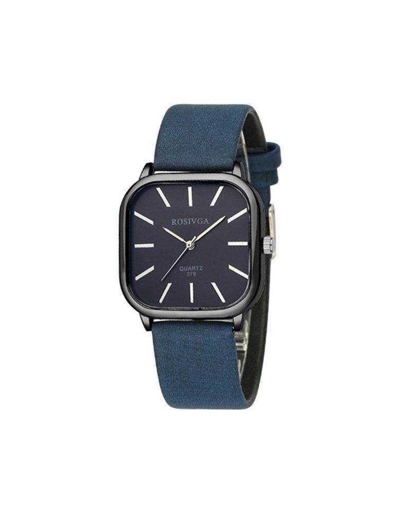 Fashion Favorite Harley Rosivga Square Horloge | Blauw - Blauw | Vierkant | Kunstleer | Ø 35 mm