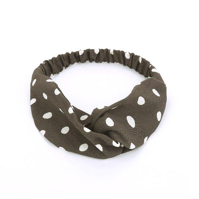 Haarband Stippen Grijs   Chiffon - Polyester   Elastische Bandana