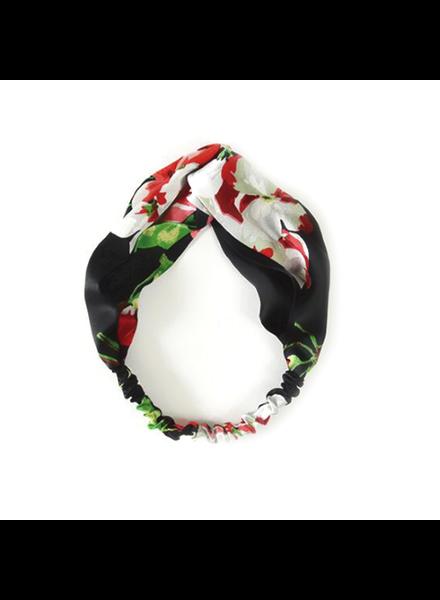 Fashion Favorite Haarband Satijn - Zwart Bloemen