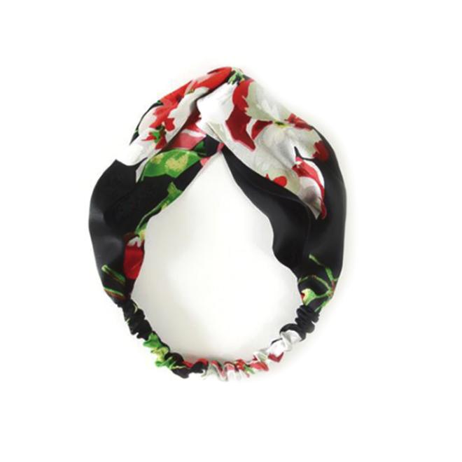 Haarband Satijn - Zwart Bloemen - Bandana Hoofdband | 100% Polyester | Elastisch