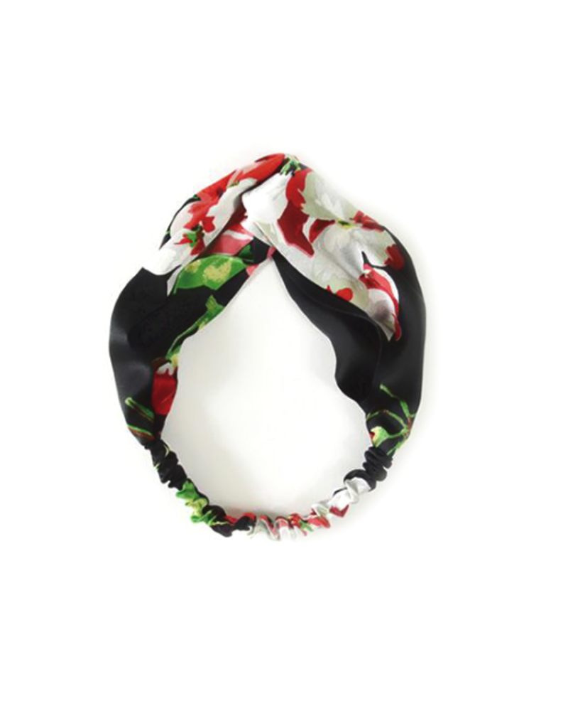 Fashion Favorite Haarband Satijn - Zwart Bloemen - Bandana Hoofdband | 100% Polyester | Elastisch