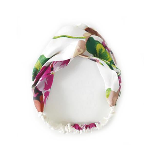 Haarband Satijn - Wit Bloemen - Bandana Hoofdband   100% Polyester   Elastisch