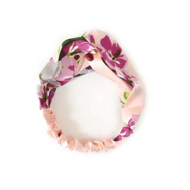 Haarband Satijn - Roze Bloemen