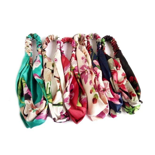Haarband Satijn - Roze Bloemen - Bandana Hoofdband   100% Polyester   Elastisch