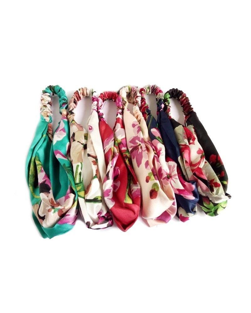 Fashion Favorite Haarband Satijn - Roze Bloemen - Bandana Hoofdband | 100% Polyester | Elastisch