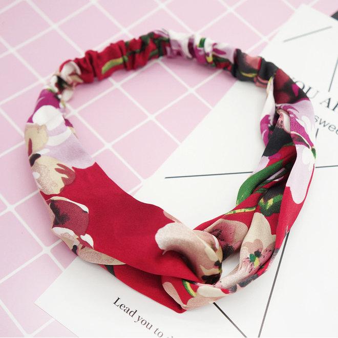 Haarband Satijn - Rood Bloemen - Bandana Hoofdband - 100% Polyester - Elastisch