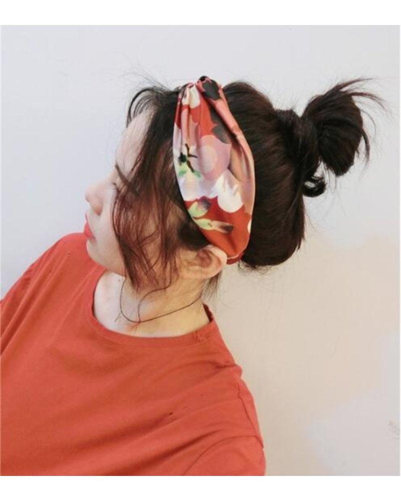 Fashion Favorite Haarband Satijn - Rood Bloemen - Bandana Hoofdband - 100% Polyester - Elastisch