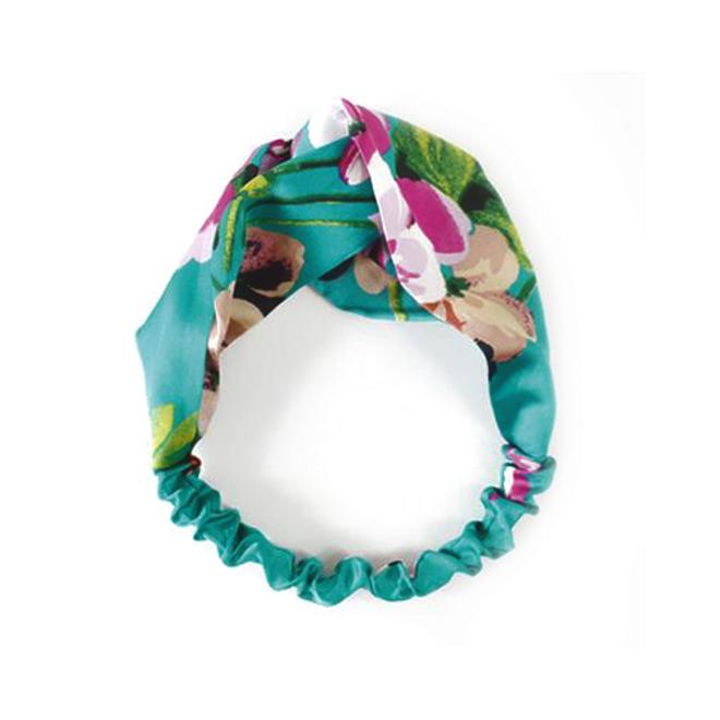 Haarband Satijn - Groen Bloemen - Bandana Hoofdband   100% Polyester   Elastisch