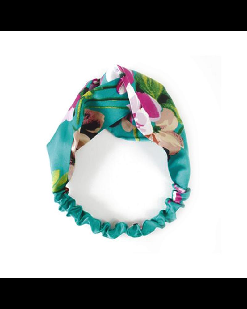 Fashion Favorite Haarband Satijn - Groen Bloemen - Bandana Hoofdband | 100% Polyester | Elastisch