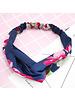 Fashion Favorite Haarband Satijn - Blauw Bloemen - Bandana Hoofdband | 100% Polyester | Elastisch