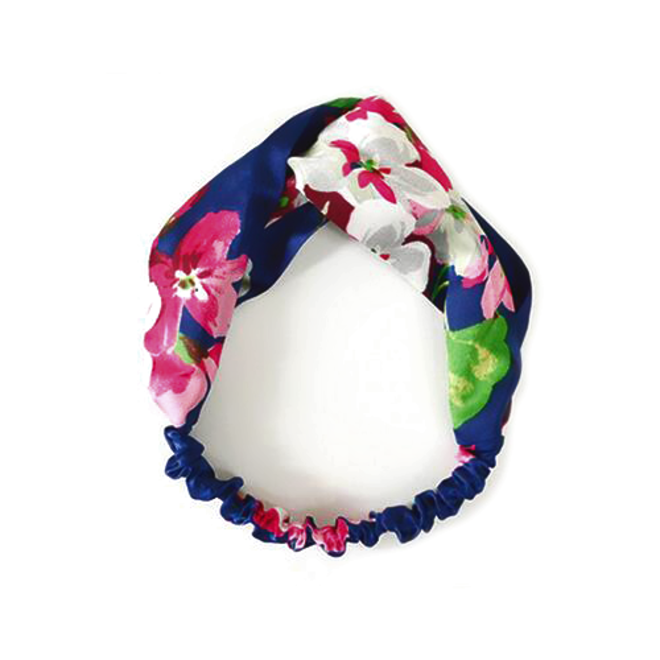 Haarband Satijn - Blauw Bloemen - Bandana Hoofdband | 100% Polyester | Elastisch