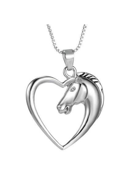 Fashion Favorite Ketting Paard In Hart - Zilverkleurig