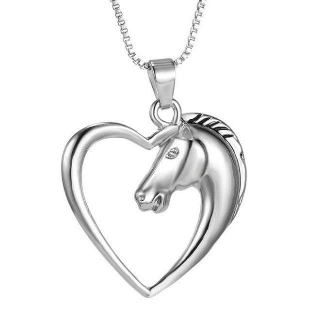 Ketting Paard In Hart - Kinderen - Zilver - 45 cm