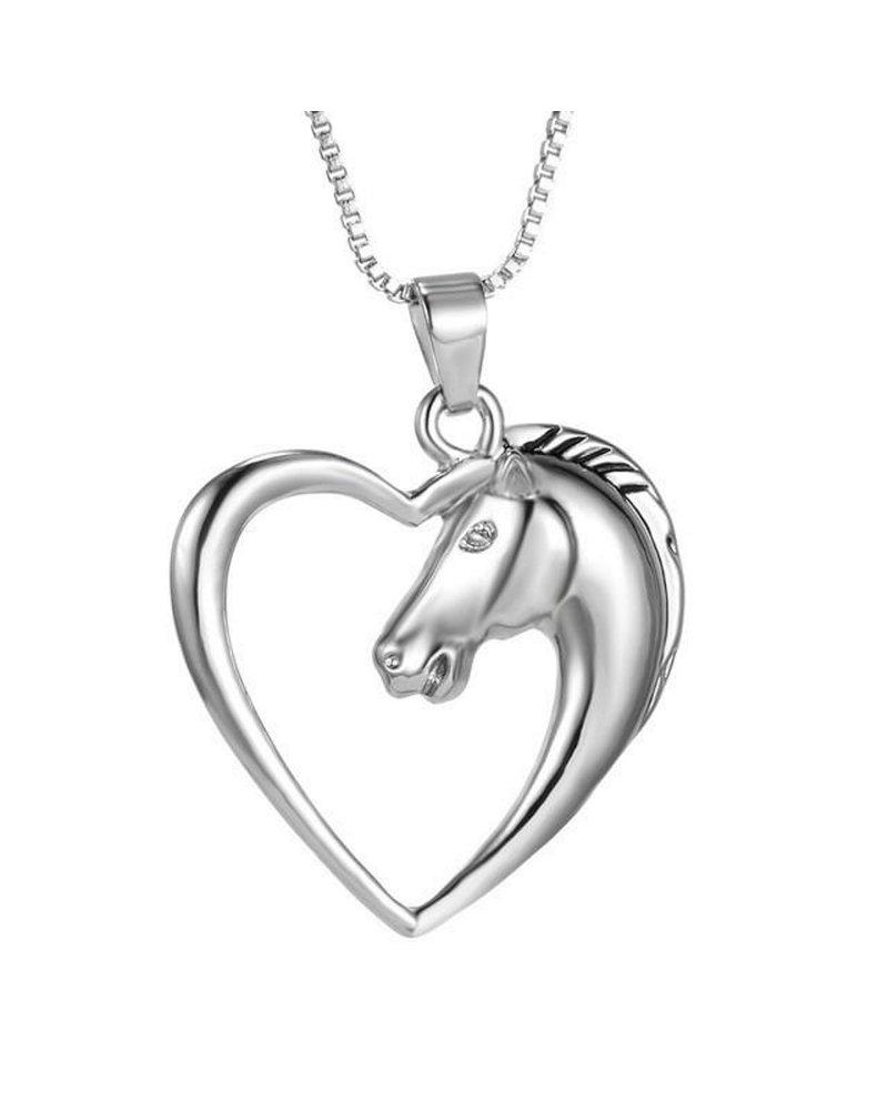 Fashion Favorite Ketting Paard In Hart - Kinderen - Zilver - 45 cm