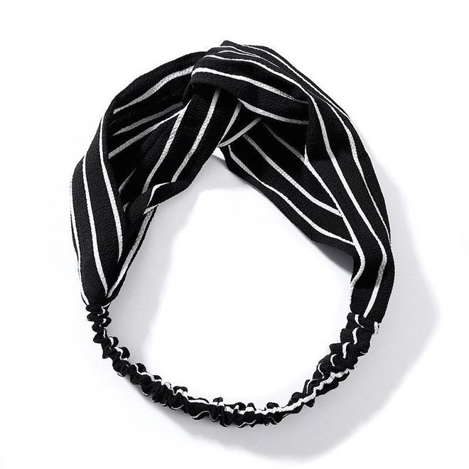 Haarband Print | Streep Zwart - Wit | Elastische Bandana