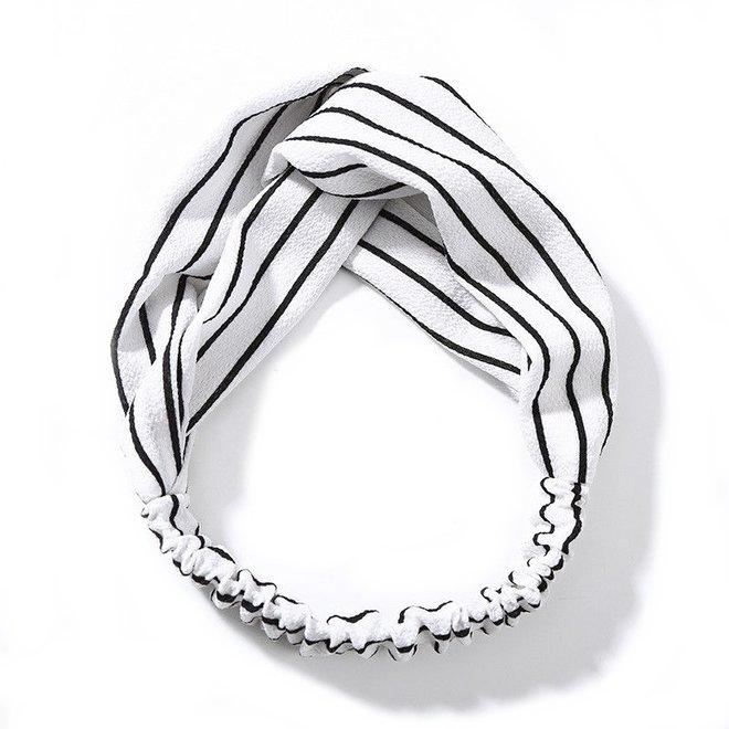 Haarband Print   Streep Wit - Zwart   Elastische Bandana