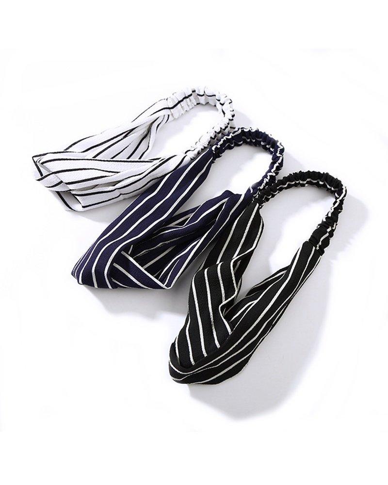 Fashion Favorite Haarband Print | Streep Wit - Zwart | Elastische Bandana