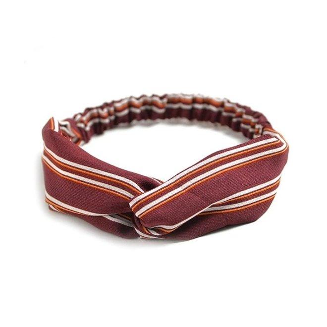 Haarband Print | Streep Rood - Oranje | Elastische Bandana