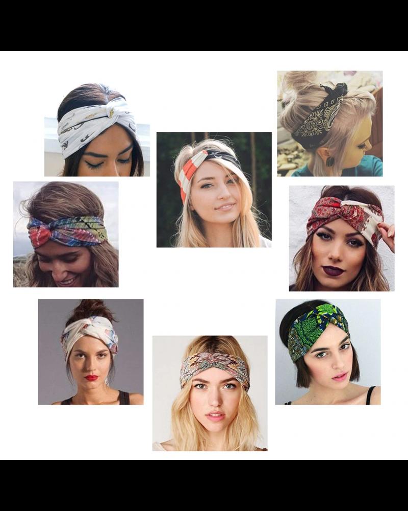 Fashion Favorite Haarband Print   Streep Rood - Oranje   Elastische Bandana